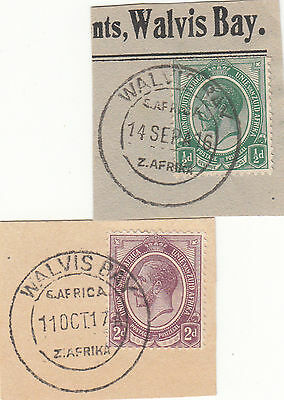 SWA OCC 1915/23 - PMKs ON KGV FORERUNNERS WALVIS BAY 2 cancellers