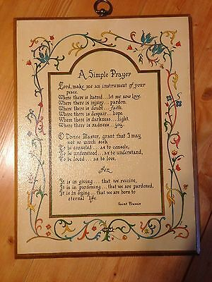 "Vintage St. Francis of Assisi SIMPLE PRAYER 11"" X 15"" Wall Hanging Religious Art"