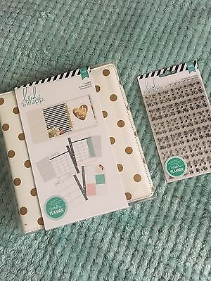 NEW Heidi Swapp Planner Kit Lot White Gold Dot With Stickers
