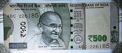 """INDIAN """"Rupees 500 Banknote 2016 NEW Currency Bill UNCIRCULATED""""  #227"""