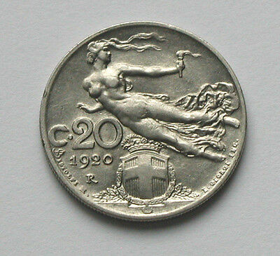 1920R ITALY Coin - 20 Centesimi - AU toned - goddess Victoria, victory in flight