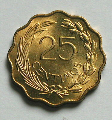 1953 PARAGUAY Coin - 25 Centimos - UNC lustre - special coin shape - scalloped