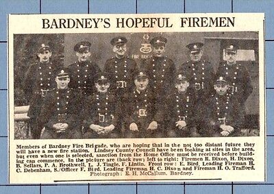 BARDNEY'S FIRE BRIGADE - LINDSEY COUNTY COUNCIL , LINCS    (1951 News Cutting)