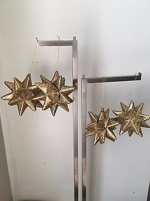 Christmas ornament star 20 point 3D polygon merkaba bronze gold glitter lot 4