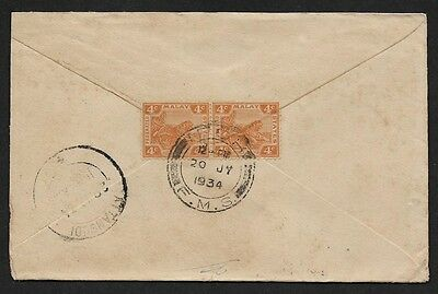 (111cents) Malaya FMS used in Ipoh 1934 Cover