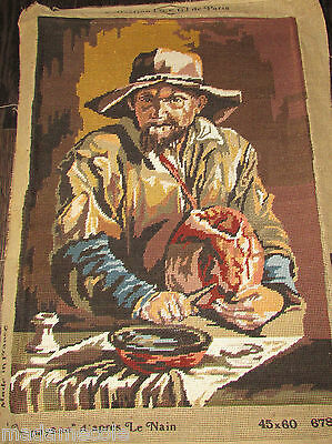 """Unframed Completed  Needlepoint """"le Paysan""""14""""1/2 X  20"""""""