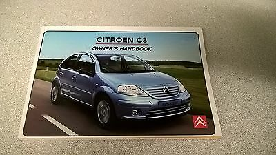 New Citroen C3 Owners Manual 08/2002 Edition
