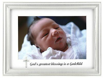 Malden International Designs Godchild Charms Picture Frame, 4 by 6-Inch, Silver