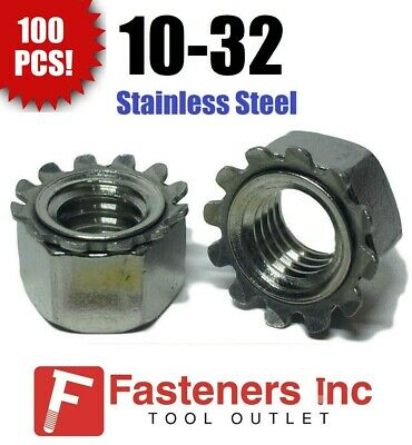 (Qty 100) 10-32 Kep Hex Star Lock Nuts Stainless Steel Fine Thread 18-8 / 304