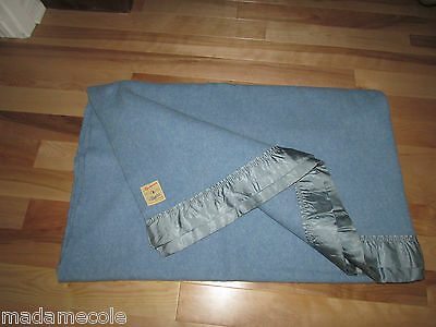 "Vintage Ayerspun Blue Pure Wool Blanket/satin Band  Canadian Product  66""x 81"""