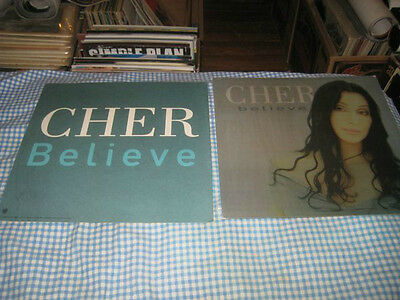CHER-(believe)-1 POSTER FLAT-2 SIDED-12X12-RARE