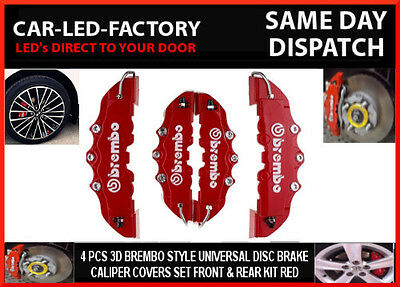 Renault Brembo Style 3D Red Disc Brake Caliper Cover Set Front & Rear Universal