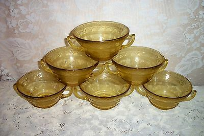SIX 1930's Federal Glass Amber Patrician / Spoke Two Handled Cream Soup Bowls