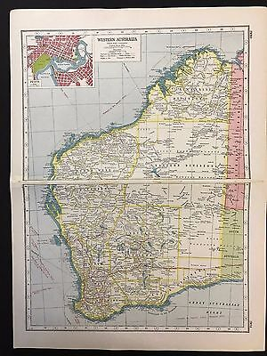 Vintage Map 1920, Western Australia, Inset of Perth - Harmsworth's Atlas