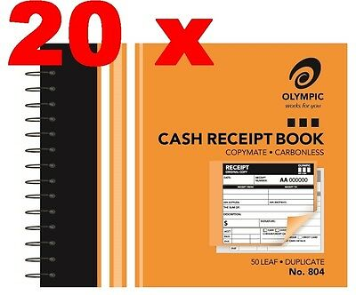 20 CASH RECEIPT BOOKS Olympic Carbonless Duplicate 104x127mm 182291 No.804 No804