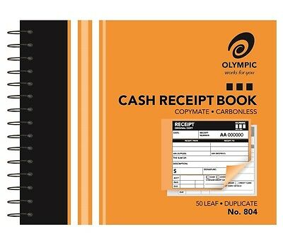 CASH RECEIPT BOOKS Olympic Carbonless Duplicate 104x127mm 182291 No.804 No804