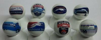 Set of 8 Greyhound Bus Glass Marbles