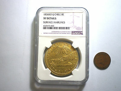 1836 Chile 8 Escudos  Overstruck On  Earlier Chilean 8 Escudos Rare Gold Coin