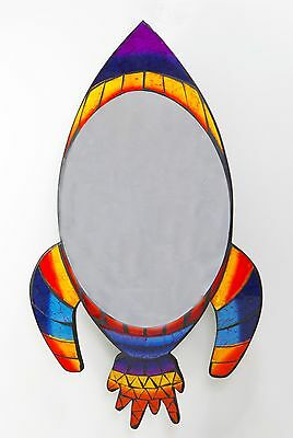 ROCKET SHIP MIRROR, kids space scifi mosaic stained glass effect  BRAND NEW!