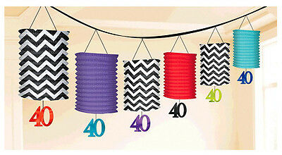 Celebrate 40th Birthday Lantern Garland Decorations ~ Adult Party Supplies Favor