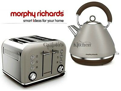 Kettle and Toaster Set Morphy Richards Accents Grey Kettle & 4 Slot Toaster New