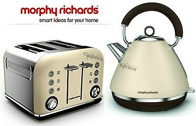 Kettle and Toaster Set Morphy Richards Accents Cream Kettle & 4 Slot Toaster New