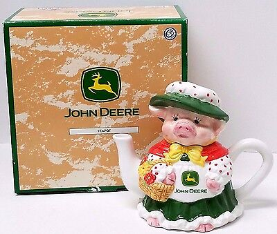 JOHN DEERE Lady Pig with Basket Collectible Ceramic Teapot & Lid NEW IN BOX