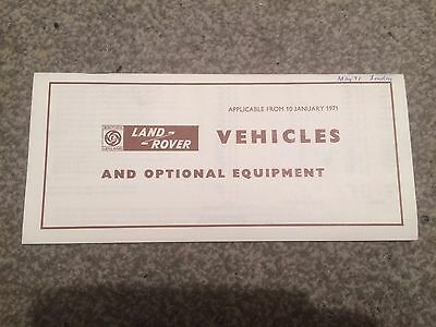"Rare 1971 Land Rover Series 3 Iii 88"" 109"" & Forward Control 110"" Price List"