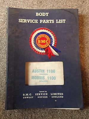 Rare Bmc Austin 1100 Morris 1100 Saloon Body Service Parts List 1969 Issue 9