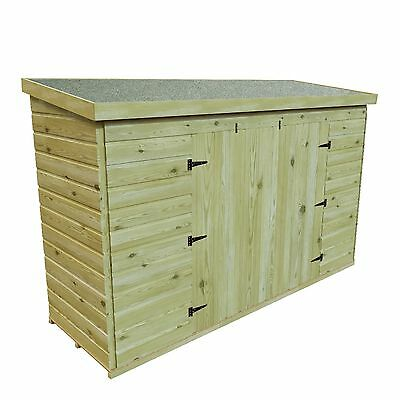 PRESSURE TREATED T&G WOODEN 7 x 3 BIKE TOOL SHED DOUBLE DOOR REVERSE PITCH