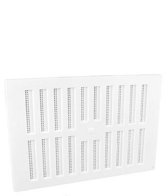 "9"" x 6"" White Plastic Adjustable Air Vent Grille with Flyscreen Cover"
