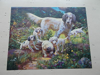Vintage English Setter & Puppies First Scent Calendar Print Sample