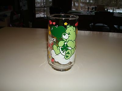 Rare 1986 dated promo vintage Care Bears GOOD LUCK BEAR Glass St. Patrick's Day!