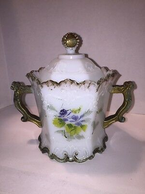 Antique Westmoreland Glass Sugar And Lid Hand painted