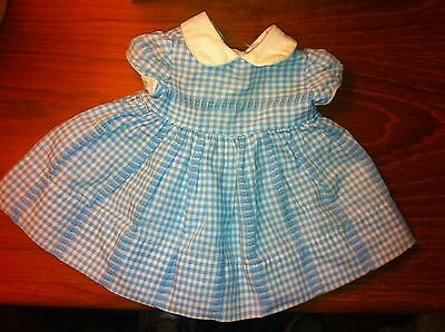 Vintage Mattel Chatty Cathy Tagged Blue Gingham Party Dress - Great Condition