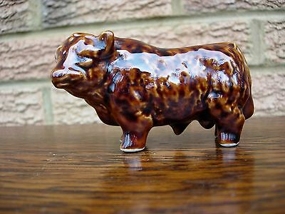 "Vintage Brown Bull Small Decanter Rutherfords Scotch Whisky 2.75"" (7cm) High"