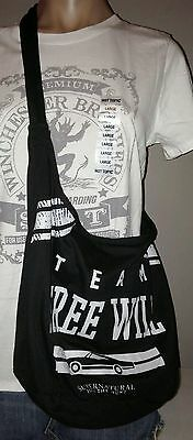 Supernatural Team Free Will Impala Over Shoulder Black Purse Hobo Bag New W/tags