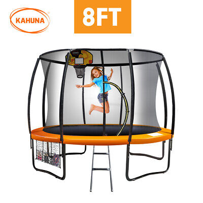 8ft Round Trampoline Safety Net Spring Pad Cover Mat Ladder Free Basketball Set