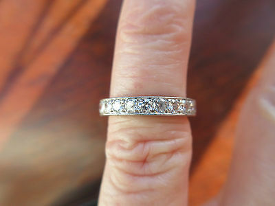 Lovely 18ct White Gold and .54 ct Diamond Half Eternity Ring – Small Size