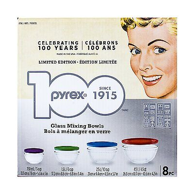 Pyrex 8-piece 100 Years Glass Mixing Bowl Set (Limited Edition) 735870