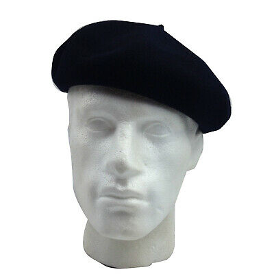 fb364e8f Super Basque French BERET 100% Wool MADE IN FRANCE British Hat Cap - Navy  Blue