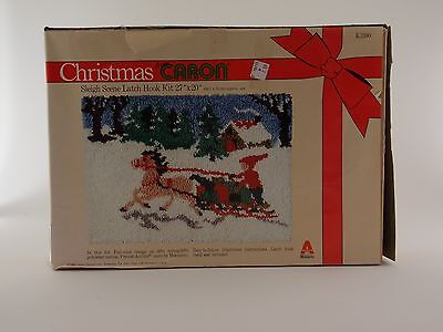 "Christmas Sleigh Scene Latch Hook Kit 27"" x 20"" From Caron New Damaged Box"