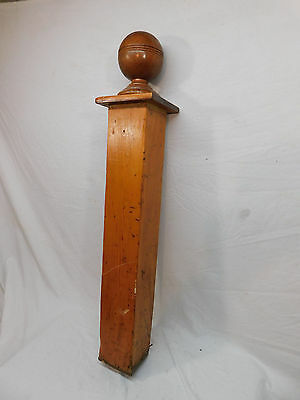 Antique Victorian Ball Top Newel Post - C. 1890 Chestnut Architectural Salvage