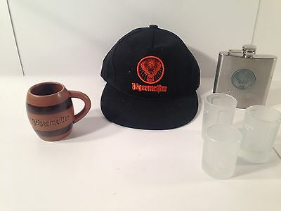 Jagermeister 4 SHOT Glass Barrel FLASK & Hat LOT *FREE SHIP*