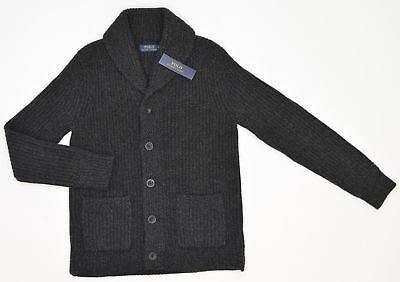 Polo Ralph Lauren Button Cardigan Mens Charcoal Wool Cashmere NEW 6781