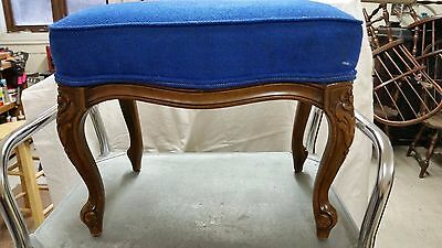 Vintage foot stool wood legs blue upholstery