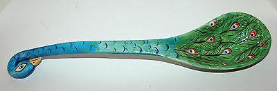 "Fabulous Ceramic Peacock Ladle - 14"" - Great For Soup, Punch Or Stews"
