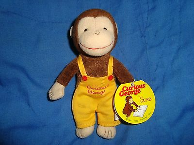 "Curious George Monkey Yellow Overalls Plush 1990 Gund Margret Rey 5.5"" W/Tags"