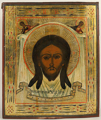 Ca1900 ANTIQUE RUSSIAN ORTHODOX RELIGIOUS ICON IMAGE OF CHRIST NOT MADE BY HANDS