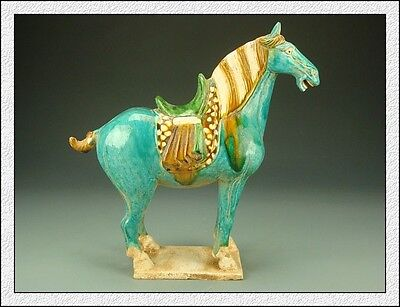 Rare Collectable Dignity Chinese Tang SanCai Blue Glaze Horse Statue